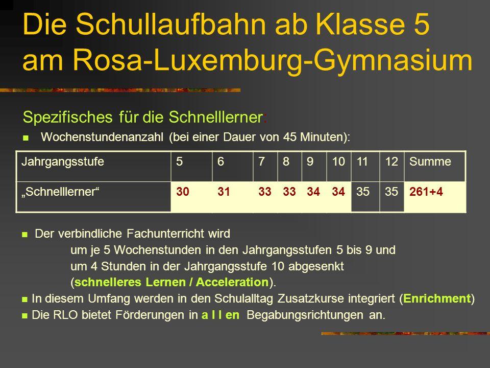 """Die Schullaufbahn ab Klasse 5 am Rosa-Luxemburg-Gymnasium Spezifisches für die Schnelllerner: Wochenstundenanzahl (bei einer Dauer von 45 Minuten): Jahrgangsstufe56789101112Summe """"Schnelllerner 303133 34 35 261+4 Der verbindliche Fachunterricht wird um je 5 Wochenstunden in den Jahrgangsstufen 5 bis 9 und um 4 Stunden in der Jahrgangsstufe 10 abgesenkt (schnelleres Lernen / Acceleration)."""