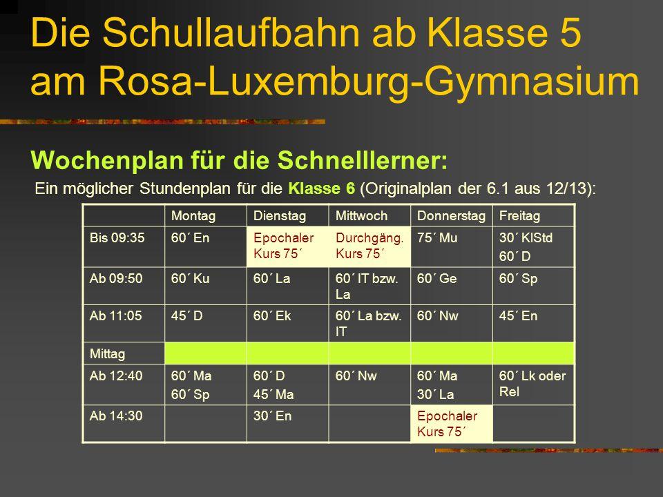 Die Schullaufbahn ab Klasse 5 am Rosa-Luxemburg-Gymnasium Wochenplan für die Schnelllerner: Ein möglicher Stundenplan für die Klasse 6 (Originalplan der 6.1 aus 12/13): MontagDienstagMittwochDonnerstagFreitag Bis 09:3560´ EnEpochaler Kurs 75´ Durchgäng.