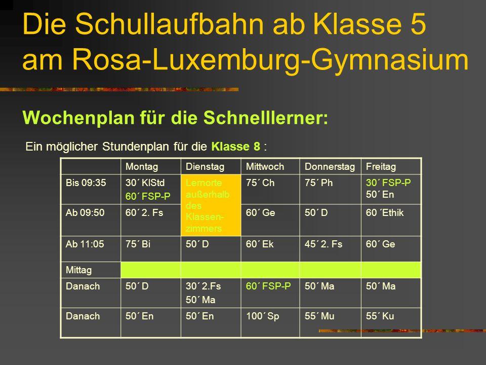 Die Schullaufbahn ab Klasse 5 am Rosa-Luxemburg-Gymnasium Wochenplan für die Schnelllerner: Ein möglicher Stundenplan für die Klasse 8 : MontagDienstagMittwochDonnerstagFreitag Bis 09:3530´ KlStd 60´ FSP-P Lernorte außerhalb des Klassen- zimmers 75´ Ch75´ Ph30´ FSP-P 50´ En Ab 09:5060´ 2.