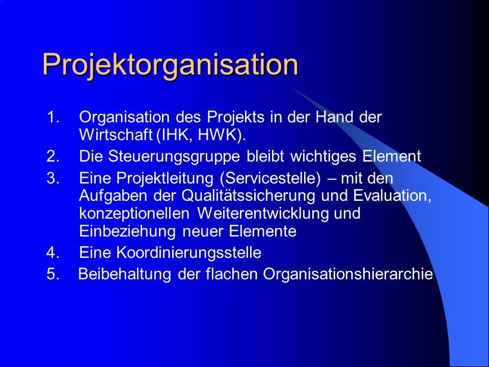 Projektorganisation 1.Organisation des Projekts in der Hand der Wirtschaft (IHK, HWK). 2.Die Steuerungsgruppe bleibt wichtiges Element 3.Eine Projektl