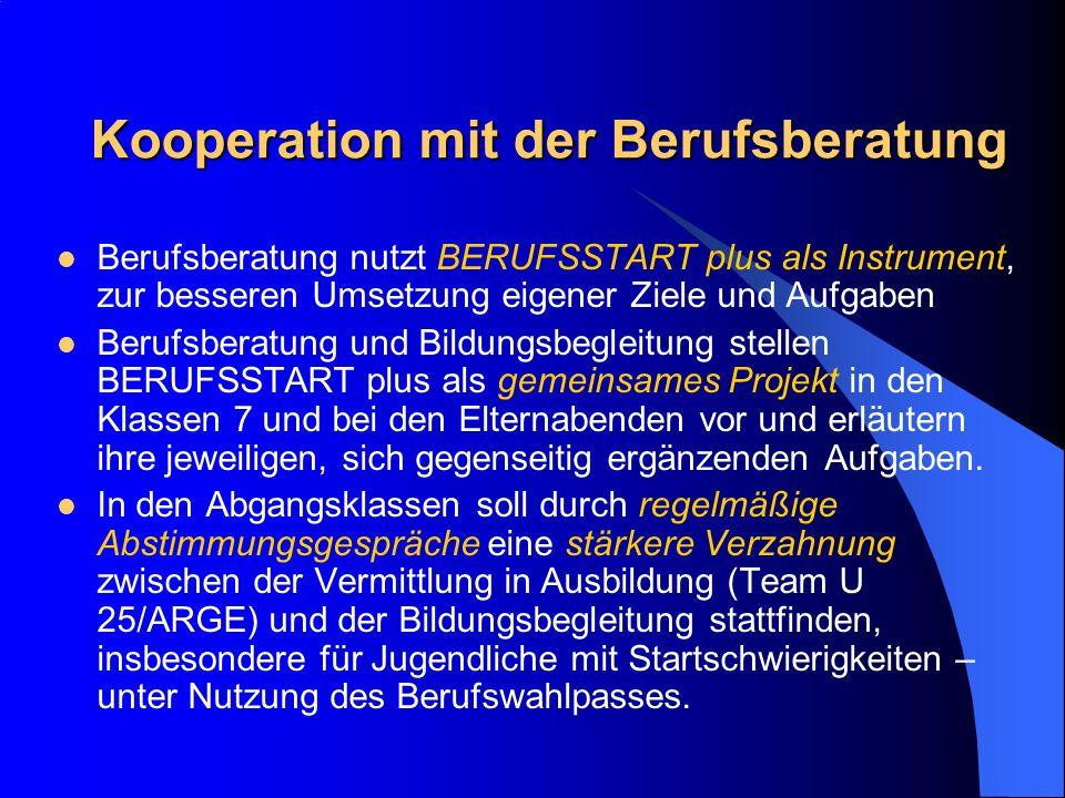 Kooperation mit der Berufsberatung Berufsberatung nutzt BERUFSSTART plus als Instrument, zur besseren Umsetzung eigener Ziele und Aufgaben Berufsberat