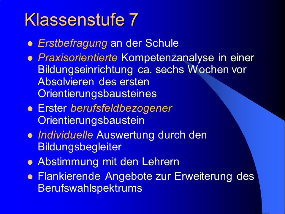 Klassenstufe 7 Erstbefragung an der Schule Praxisorientierte Kompetenzanalyse in einer Bildungseinrichtung ca.