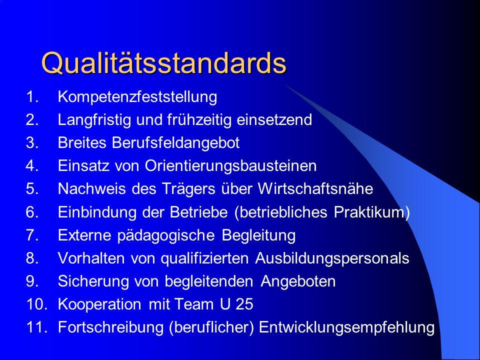 Qualitätsstandards 1.Kompetenzfeststellung 2.Langfristig und frühzeitig einsetzend 3.Breites Berufsfeldangebot 4.Einsatz von Orientierungsbausteinen 5