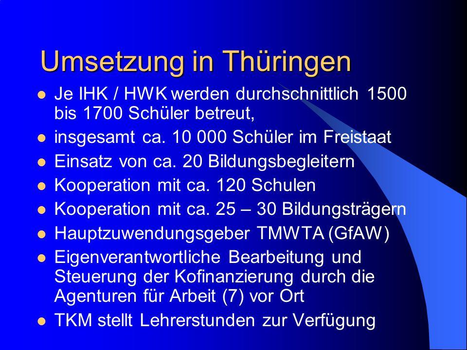 Umsetzung in Thüringen Je IHK / HWK werden durchschnittlich 1500 bis 1700 Schüler betreut, insgesamt ca. 10 000 Schüler im Freistaat Einsatz von ca. 2