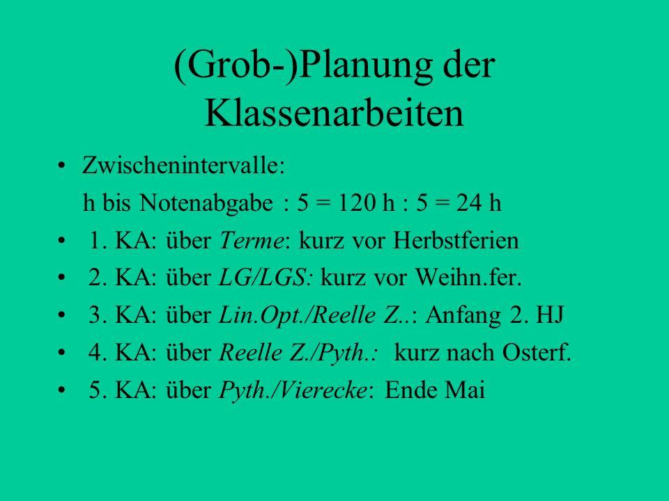 (Grob-)Planung der Klassenarbeiten Zwischenintervalle: h bis Notenabgabe : 5 = 120 h : 5 = 24 h 1.