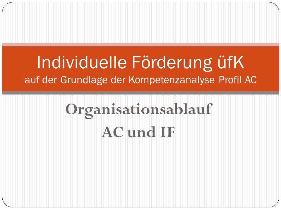 Organisationsablauf AC und IF Individuelle Förderung üfK auf der Grundlage der Kompetenzanalyse Profil AC