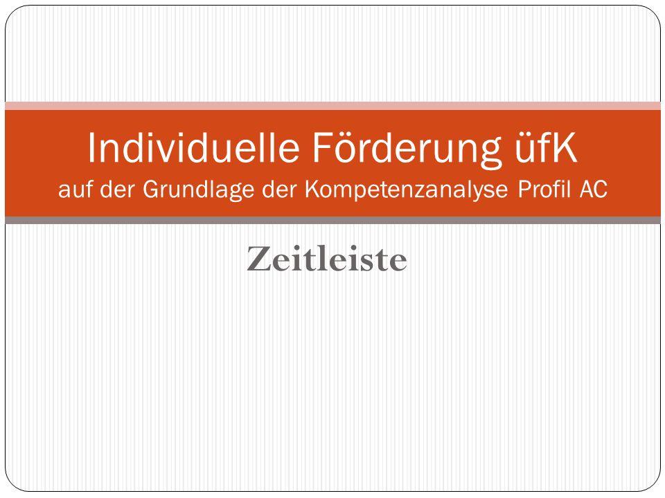 Zeitleiste Individuelle Förderung üfK auf der Grundlage der Kompetenzanalyse Profil AC