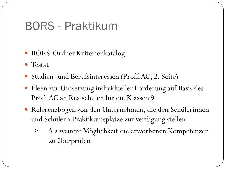 BORS - Praktikum BORS-Ordner Kriterienkatalog Testat Studien- und Berufsinteressen (Profil AC, 2. Seite) Ideen zur Umsetzung individueller Förderung a