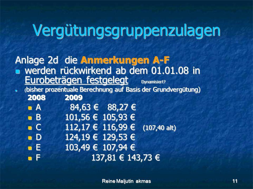 Reine Maljutin akmas11 Vergütungsgruppenzulagen Anlage 2d die Anmerkungen A-F werden rückwirkend ab dem 01.01.08 in Eurobeträgen festgelegt Dynamisiert.