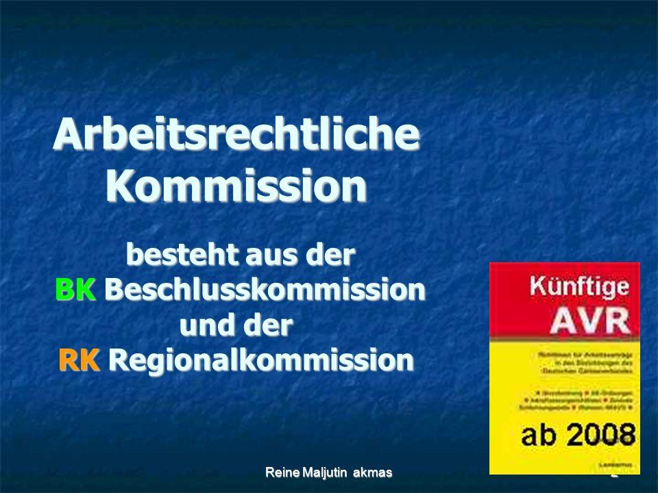 Reine Maljutin akmas2 Arbeitsrechtliche Kommission besteht aus der BK Beschlusskommission und der RK Regionalkommission