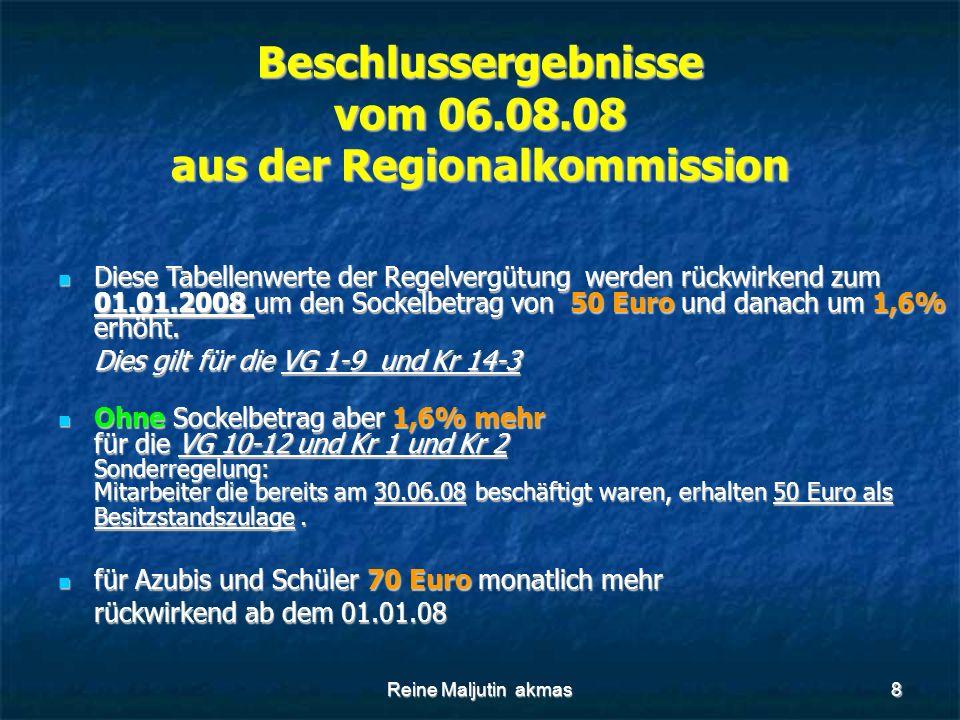 Reine Maljutin akmas8 Beschlussergebnisse vom 06.08.08 aus der Regionalkommission Diese Tabellenwerte der Regelvergütung werden rückwirkend zum 01.01.2008 um den Sockelbetrag von 50 Euro und danach um 1,6% erhöht.