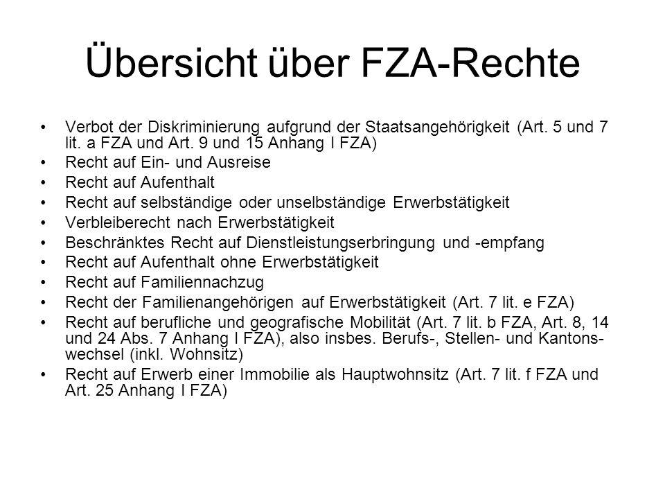 Übersicht über FZA-Rechte Verbot der Diskriminierung aufgrund der Staatsangehörigkeit (Art.
