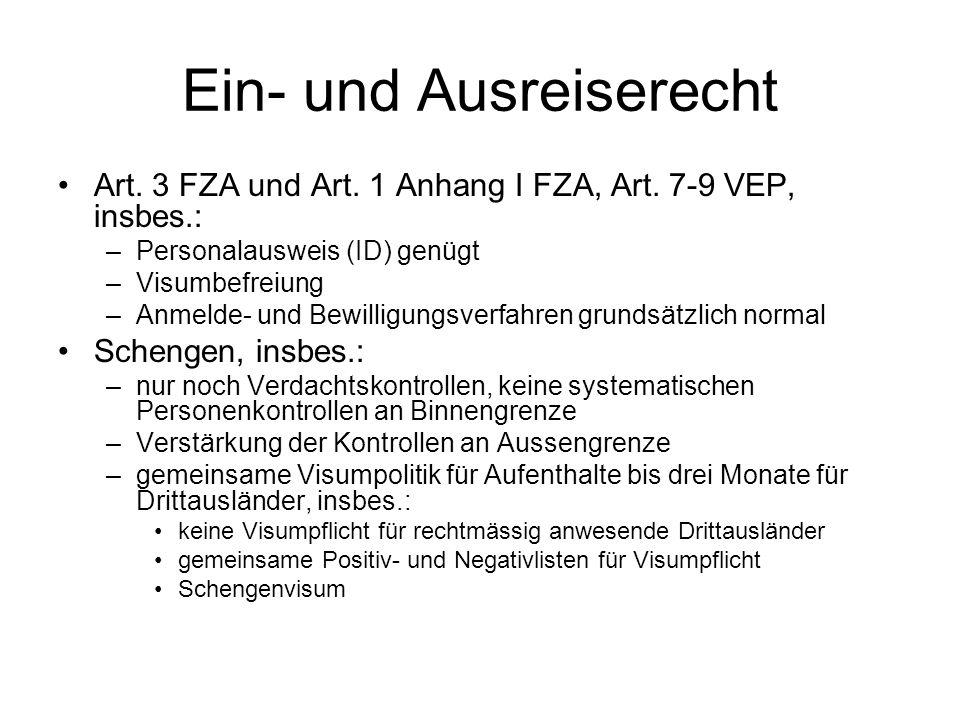 Ein- und Ausreiserecht Art. 3 FZA und Art. 1 Anhang I FZA, Art.