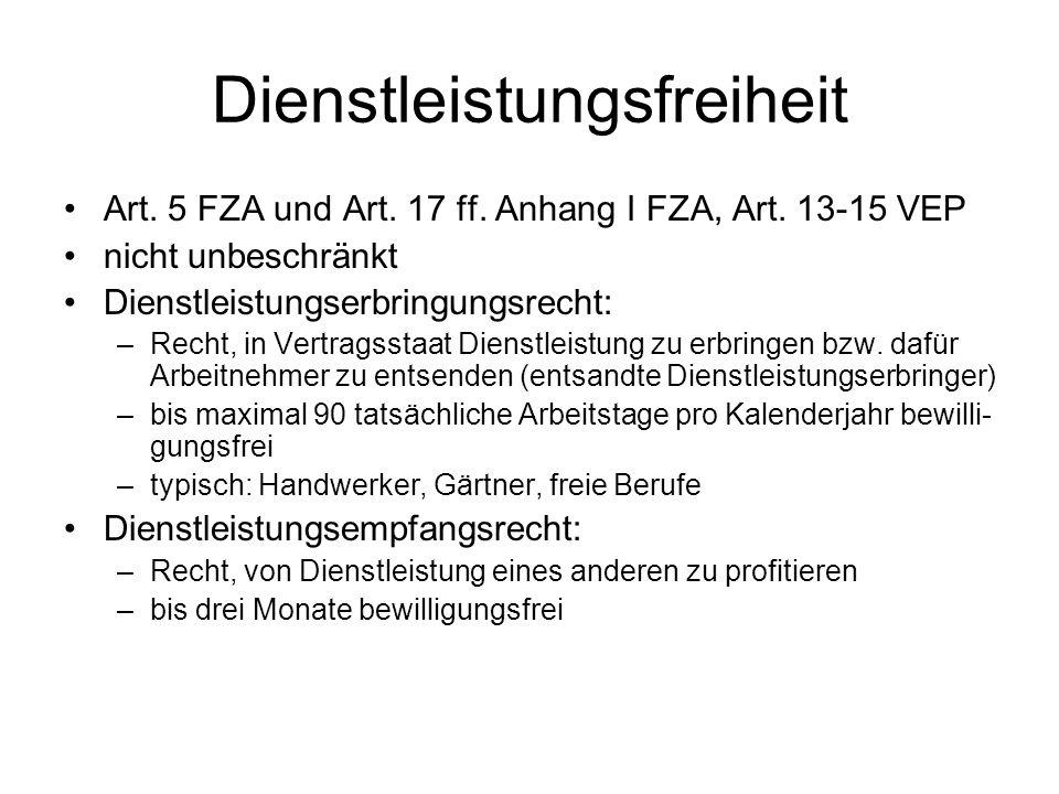 Dienstleistungsfreiheit Art. 5 FZA und Art. 17 ff.
