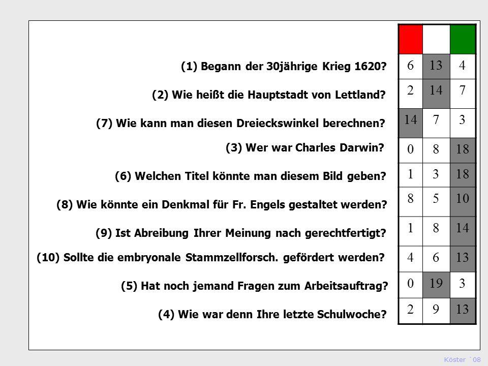 Köster `08 Studienseminar Köln (1) Begann der 30jährige Krieg 1620.
