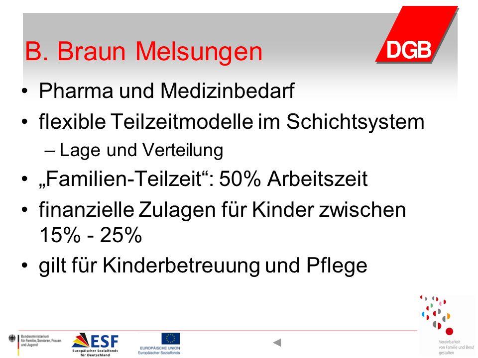 """B. Braun Melsungen Pharma und Medizinbedarf flexible Teilzeitmodelle im Schichtsystem – Lage und Verteilung """"Familien-Teilzeit"""": 50% Arbeitszeit finan"""