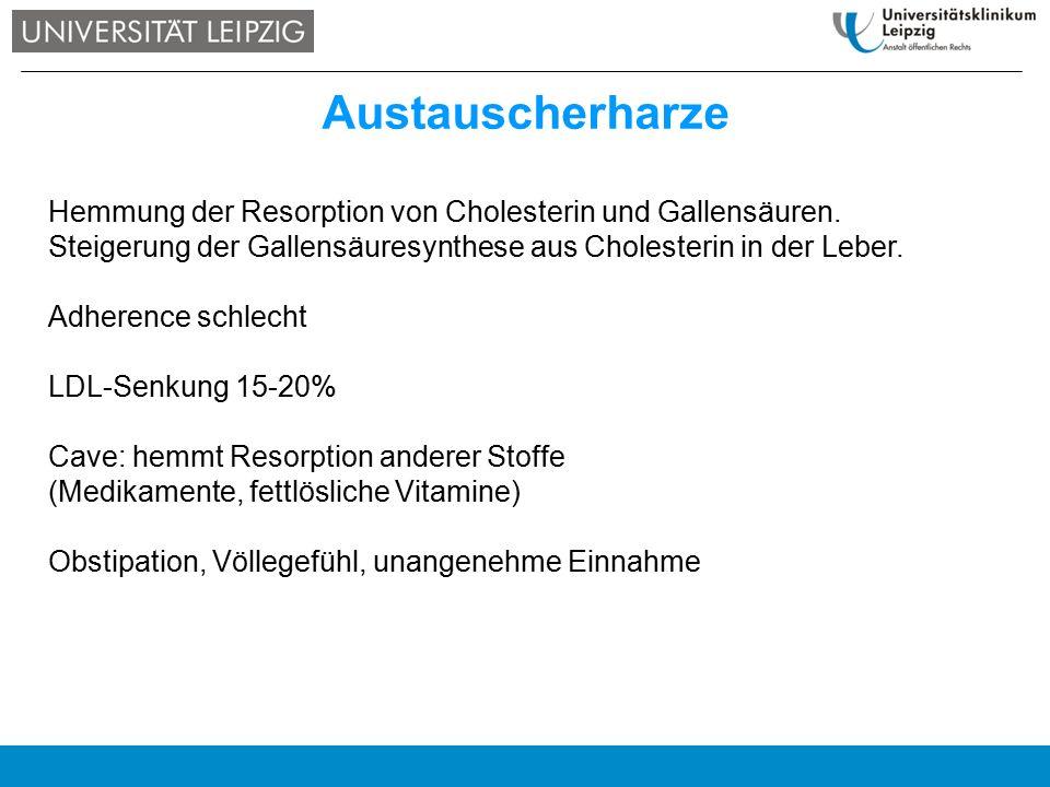 Austauscherharze Hemmung der Resorption von Cholesterin und Gallensäuren. Steigerung der Gallensäuresynthese aus Cholesterin in der Leber. Adherence s