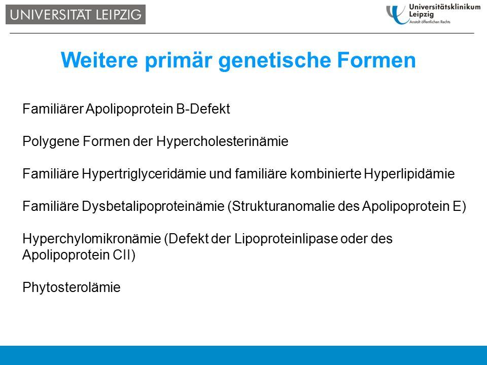 Weitere primär genetische Formen Familiärer Apolipoprotein B-Defekt Polygene Formen der Hypercholesterinämie Familiäre Hypertriglyceridämie und famili