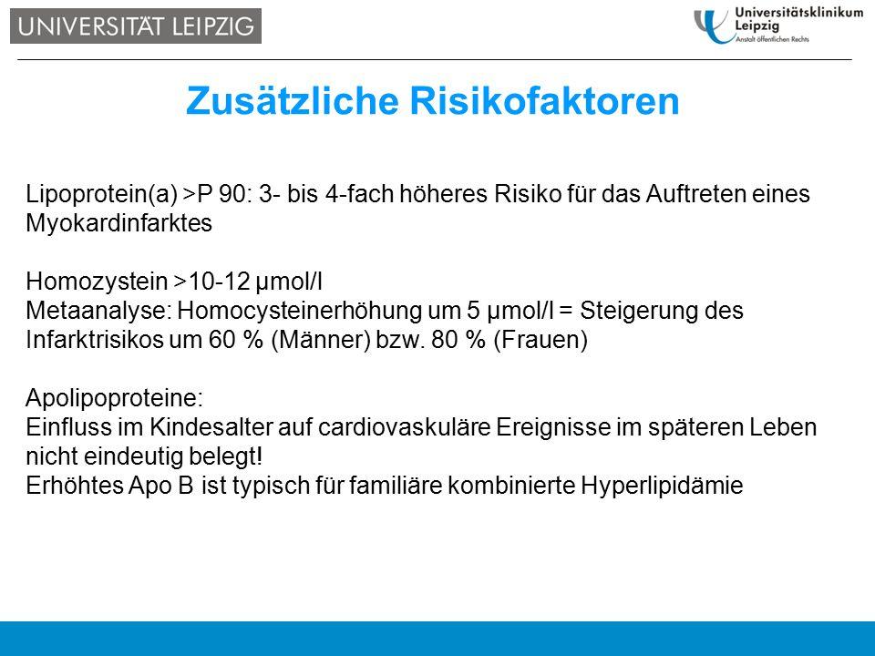 Zusätzliche Risikofaktoren Lipoprotein(a) >P 90: 3- bis 4-fach höheres Risiko für das Auftreten eines Myokardinfarktes Homozystein >10-12 µmol/l Metaa