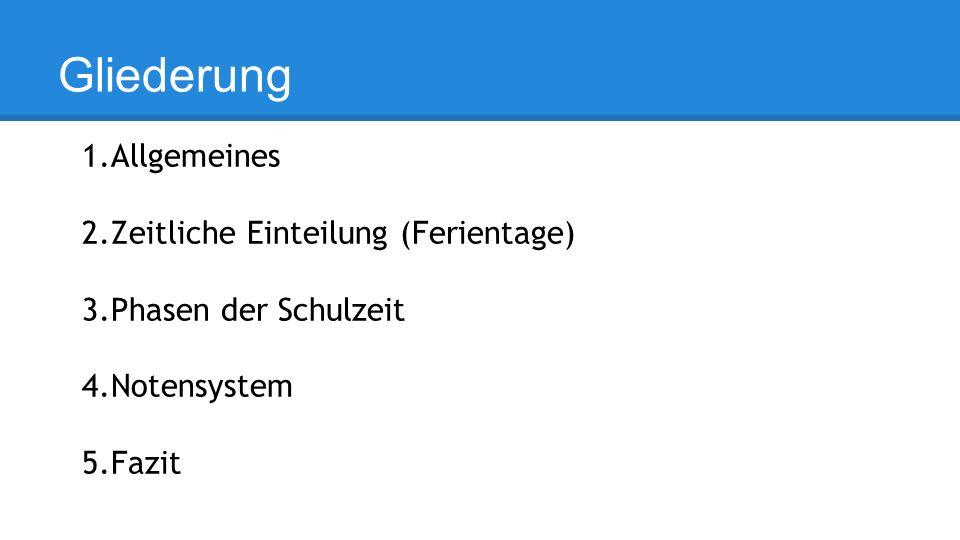 Gliederung 1.Allgemeines 2.Zeitliche Einteilung (Ferientage) 3.Phasen der Schulzeit 4.Notensystem 5.Fazit