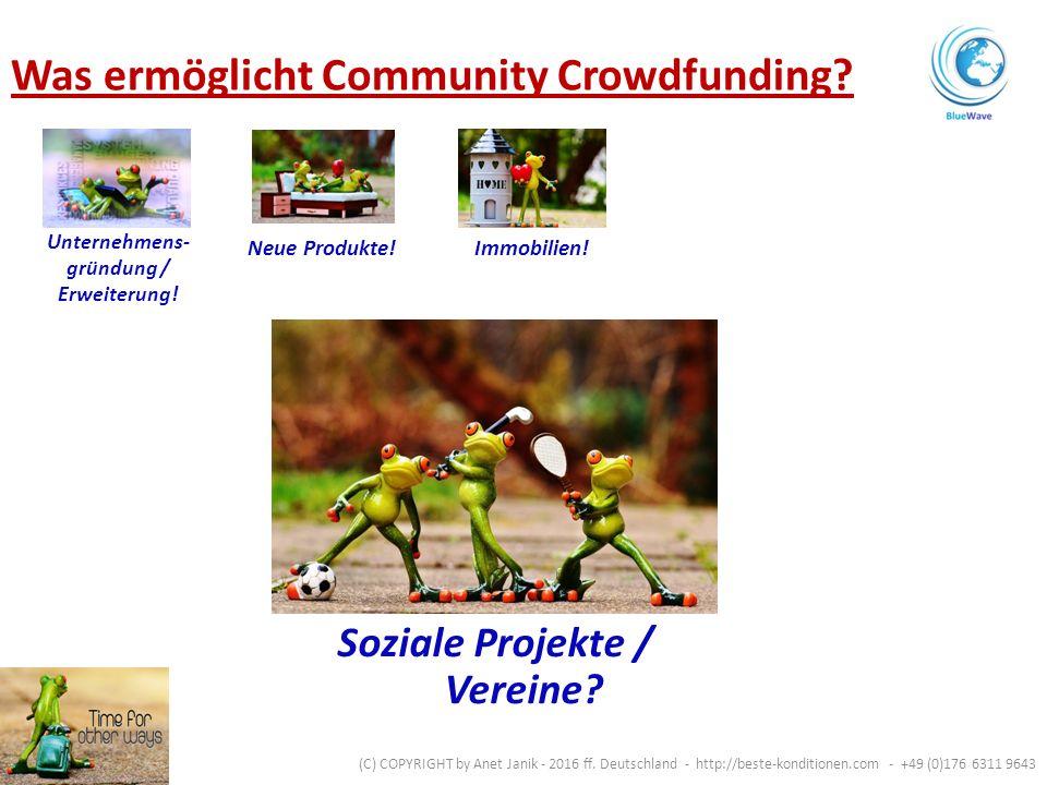 Soziale Projekte / Vereine. Unternehmens- gründung / Erweiterung.