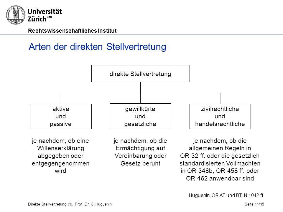 Rechtswissenschaftliches Institut Seite 11/15 Arten der direkten Stellvertretung Huguenin, OR AT und BT, N 1042 ff.