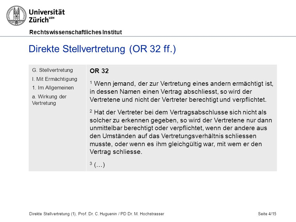 Rechtswissenschaftliches Institut Seite 5/15 Huguenin, OR AT und BT, N 1029 Direkte Stellvertretung (OR 32 ff.) Grundverhältnis (z.B.