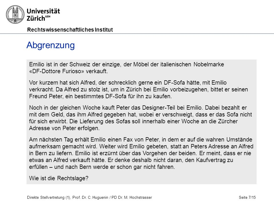 Rechtswissenschaftliches Institut Seite 8/15 G.Stellvertretung I.
