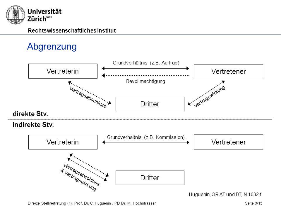 Rechtswissenschaftliches Institut Seite 9/15 Huguenin, OR AT und BT, N 1032 f.
