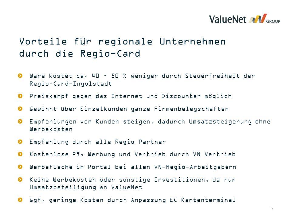 7 Ware kostet ca. 40 – 50 % weniger durch Steuerfreiheit der Regio-Card-Ingolstadt Preiskampf gegen das Internet und Discounter möglich Gewinnt über E