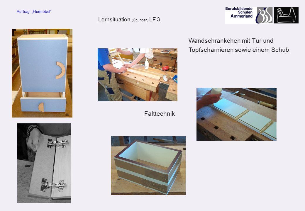 """Falttechnik Lernsituation (Übungen) LF 3 Auftrag: """"Flurmöbel Wandschränkchen mit Tür und Topfscharnieren sowie einem Schub."""