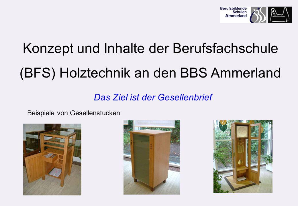 Konzept und Inhalte der Berufsfachschule (BFS) Holztechnik an den BBS Ammerland Beispiele von Gesellenstücken: Das Ziel ist der Gesellenbrief