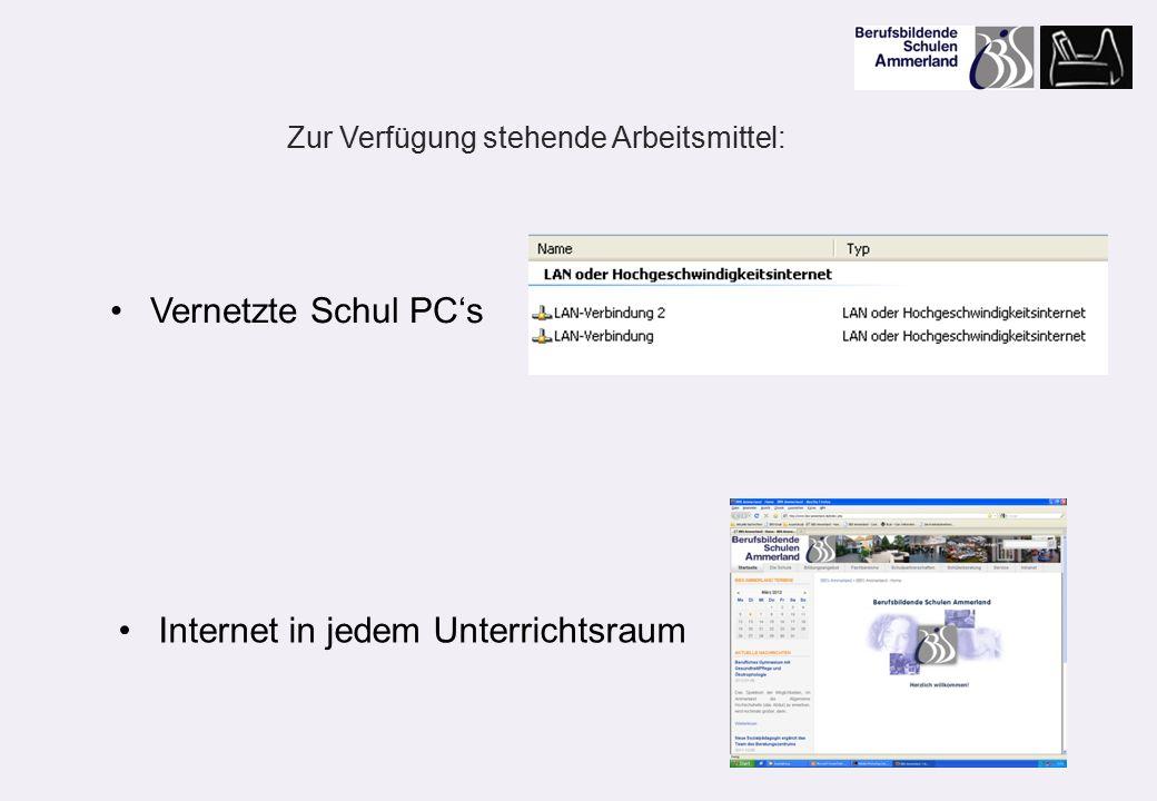 Vernetzte Schul PC's Internet in jedem Unterrichtsraum Zur Verfügung stehende Arbeitsmittel: