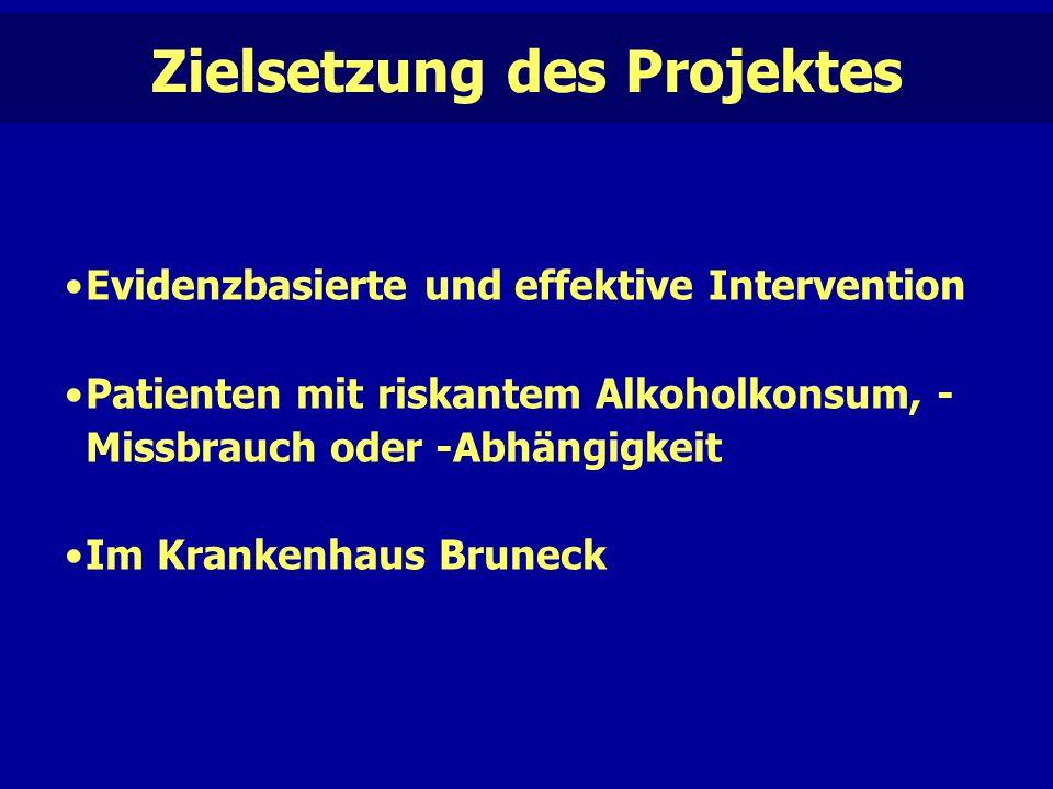 Evidenzbasierte und effektive Intervention Patienten mit riskantem Alkoholkonsum, - Missbrauch oder -Abhängigkeit Im Krankenhaus Bruneck Zielsetzung des Projektes