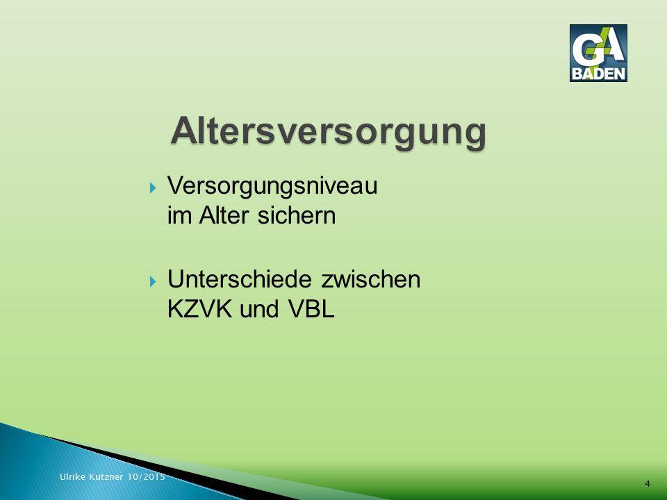  Versorgungsniveau im Alter sichern  Unterschiede zwischen KZVK und VBL Ulrike Kutzner 10/2015 4