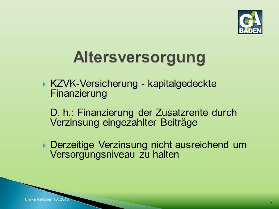  Mehrheitsbeschluss der ARK: Eigenbeteiligung der Mitarbeitenden ab 2016  Bisher zahlt der Arbeitgeber 4,8 % allein Ulrike Kutzner 10/2015 7
