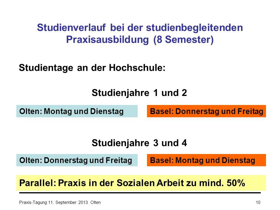 Studienverlauf bei der studienbegleitenden Praxisausbildung (8 Semester) Studientage an der Hochschule: Studienjahre 1 und 2 Studienjahre 3 und 4 Para