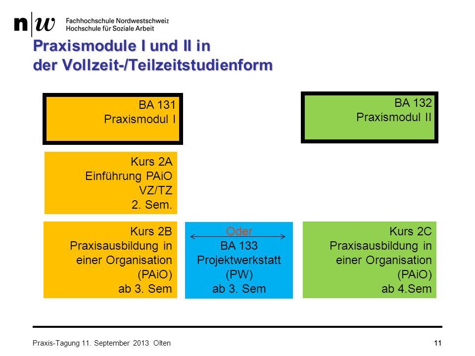 11 Praxismodule I und II in der Vollzeit-/Teilzeitstudienform Kurs 2A Einführung PAiO VZ/TZ 2. Sem. BA 131 Praxismodul I Kurs 2B Praxisausbildung in e