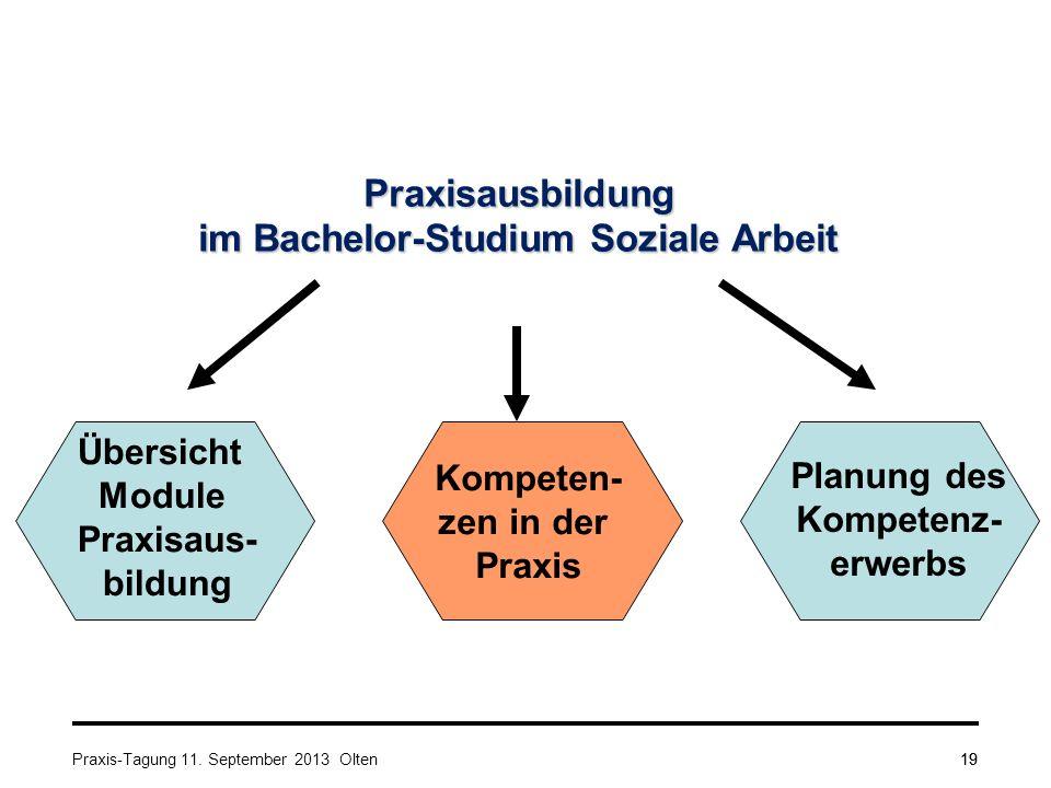 19 Praxisausbildung im Bachelor-Studium Soziale Arbeit Übersicht Module Praxisaus- bildung Kompeten- zen in der Praxis Planung des Kompetenz- erwerbs Praxis-Tagung 11.