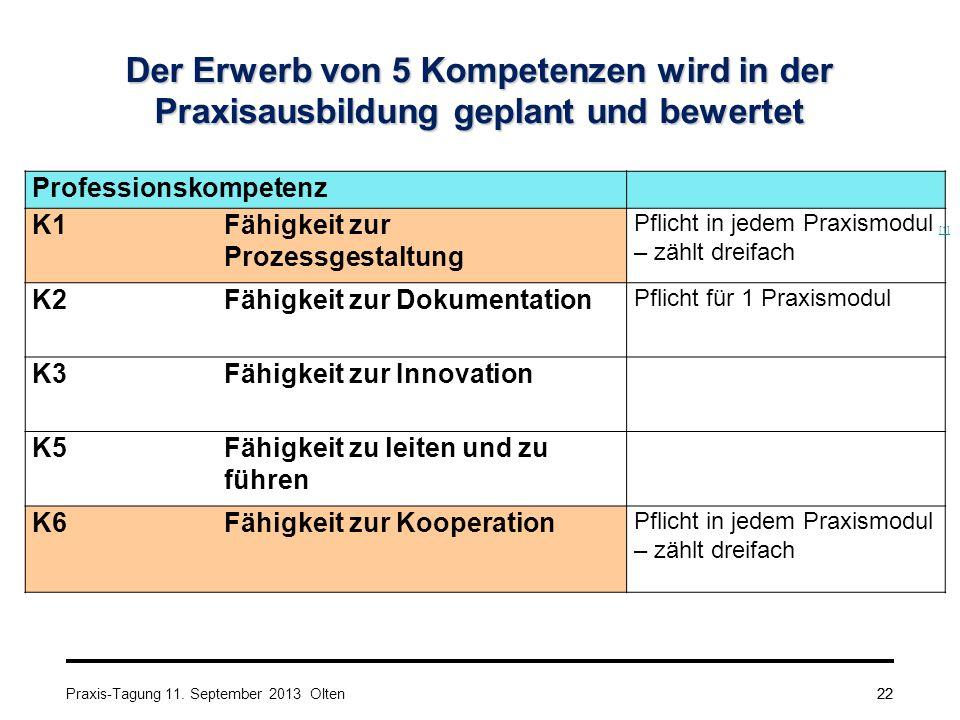 22 Der Erwerb von 5 Kompetenzen wird in der Praxisausbildung geplant und bewertet Professionskompetenz K1Fähigkeit zur Prozessgestaltung Pflicht in je