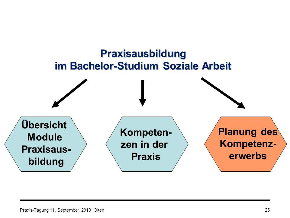 25 Praxisausbildung im Bachelor-Studium Soziale Arbeit Übersicht Module Praxisaus- bildung Kompeten- zen in der Praxis Planung des Kompetenz- erwerbs Praxis-Tagung 11.