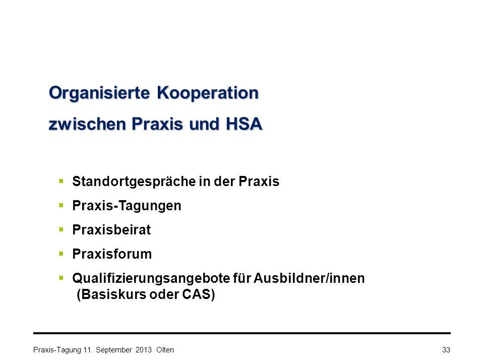 Organisierte Kooperation zwischen Praxis und HSA  Standortgespräche in der Praxis  Praxis-Tagungen  Praxisbeirat  Praxisforum  Qualifizierungsangebote für Ausbildner/innen (Basiskurs oder CAS) Praxis-Tagung 11.