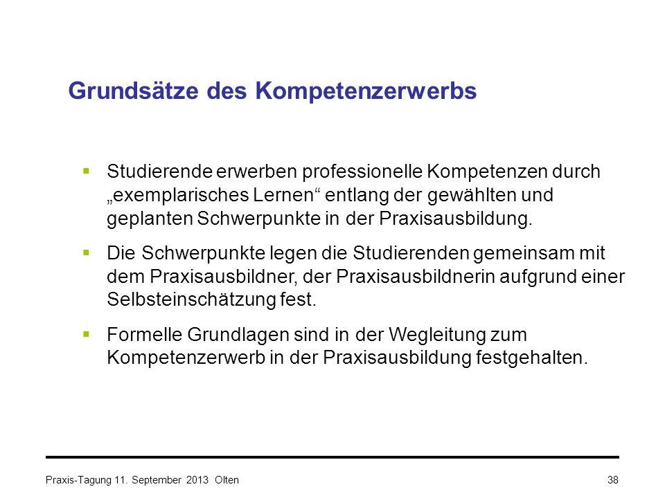 """Praxis-Tagung 11. September 2013 Olten Grundsätze des Kompetenzerwerbs  Studierende erwerben professionelle Kompetenzen durch """"exemplarisches Lernen"""""""
