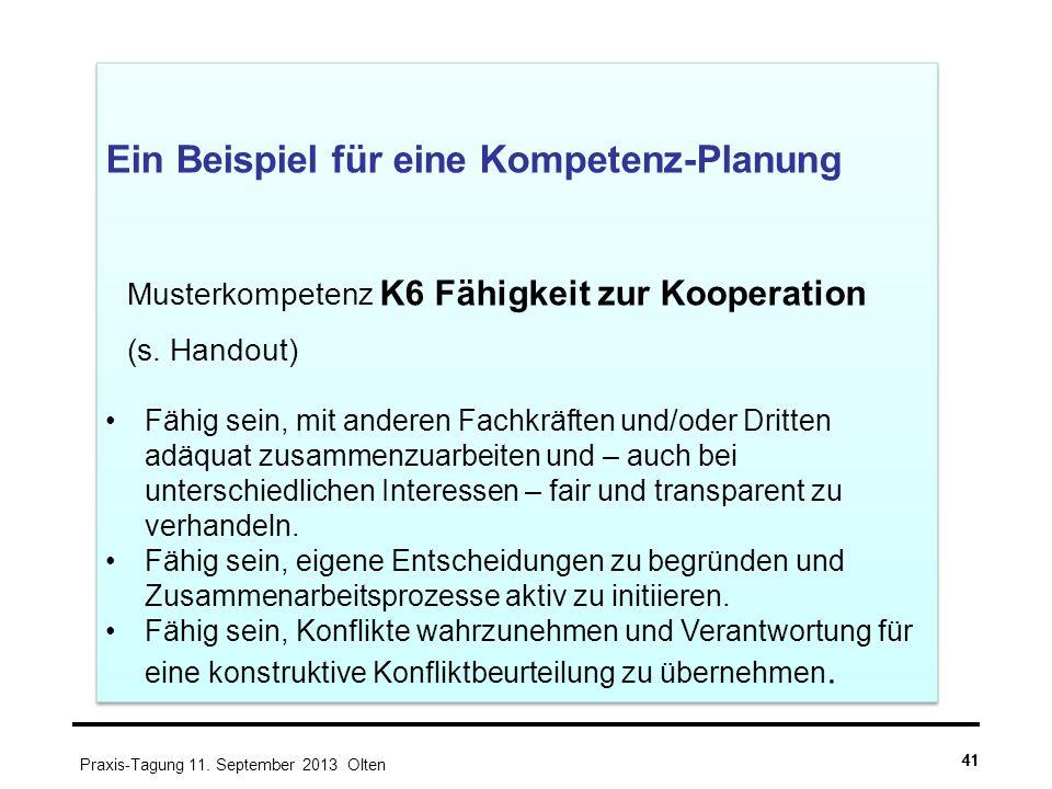 41 Ein Beispiel für eine Kompetenz-Planung Musterkompetenz K6 Fähigkeit zur Kooperation (s. Handout) Fähig sein, mit anderen Fachkräften und/oder Drit