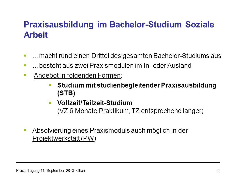 6 Praxisausbildung im Bachelor-Studium Soziale Arbeit  …macht rund einen Drittel des gesamten Bachelor-Studiums aus  …besteht aus zwei Praxismodulen