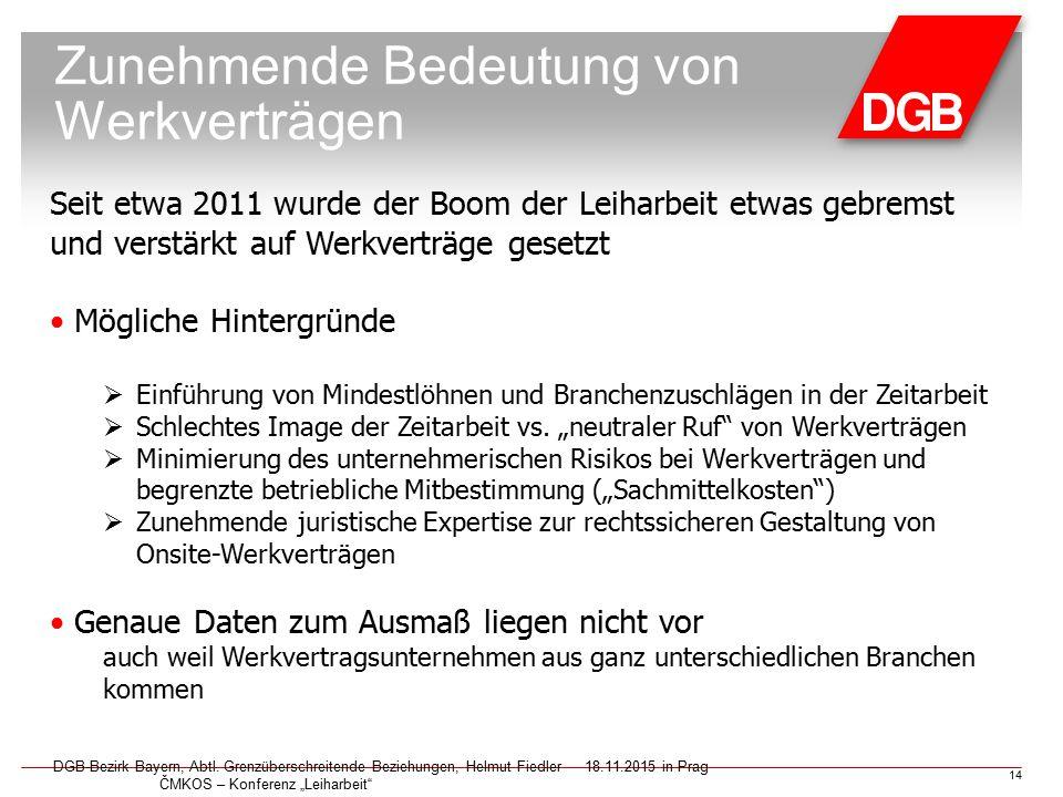"""Zunehmende Bedeutung von Werkverträgen DGB-Bezirk Bayern, Abtl. Grenzüberschreitende Beziehungen, Helmut Fiedler18.11.2015 in Prag ČMKOS – Konferenz """""""