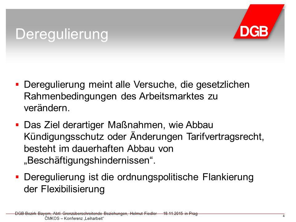 Deregulierung  Deregulierung meint alle Versuche, die gesetzlichen Rahmenbedingungen des Arbeitsmarktes zu verändern.  Das Ziel derartiger Maßnahmen