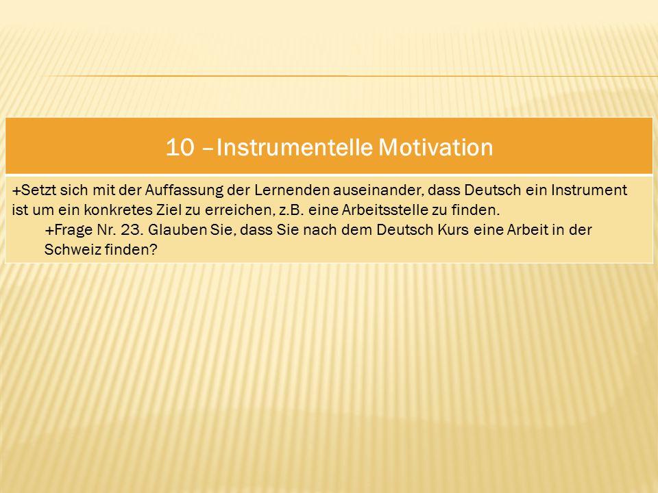 10 –Instrumentelle Motivation  Setzt sich mit der Auffassung der Lernenden auseinander, dass Deutsch ein Instrument ist um ein konkretes Ziel zu erreichen, z.B.