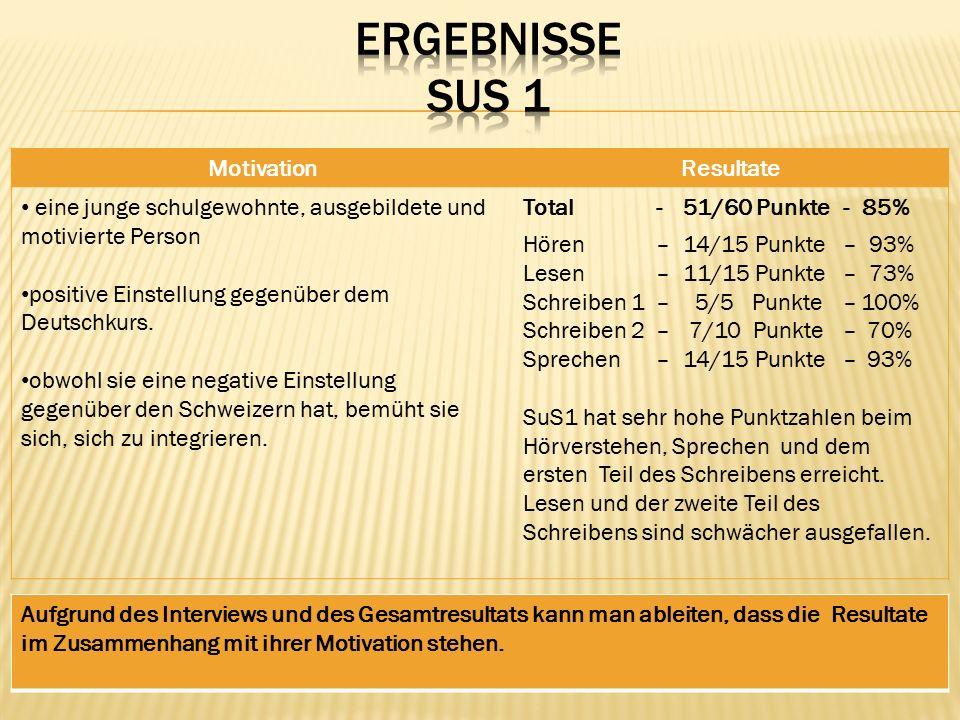 MotivationResultate eine junge schulgewohnte, ausgebildete und motivierte Person positive Einstellung gegenüber dem Deutschkurs.