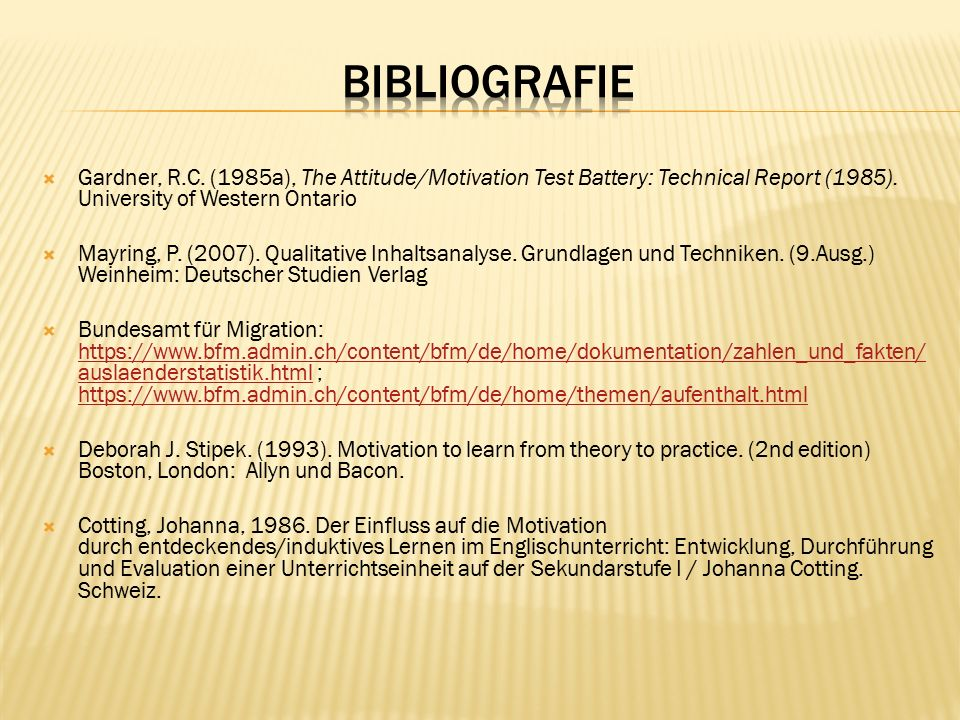  Gardner, R.C. (1985a), The Attitude/Motivation Test Battery: Technical Report (1985).